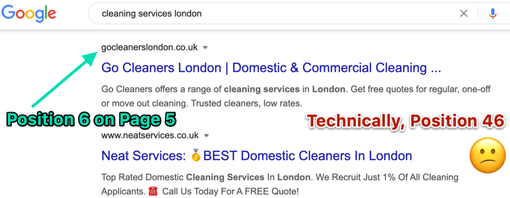Position 46 on Google for cleaning services keyword