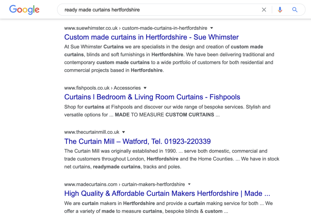 Google Search Screenshot Ready made curtains hertfordshire