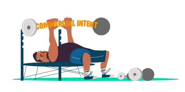 Strong commercial intent - weightlifter lifting 'commercial intent' as dumbbell