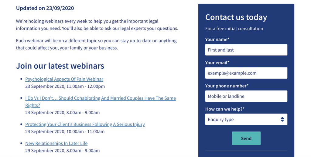 law firm webinar content marketing irwin mitchell