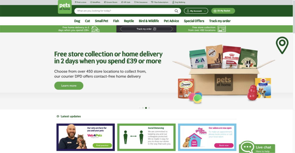 PetsAtHome Uk Website Screenshot