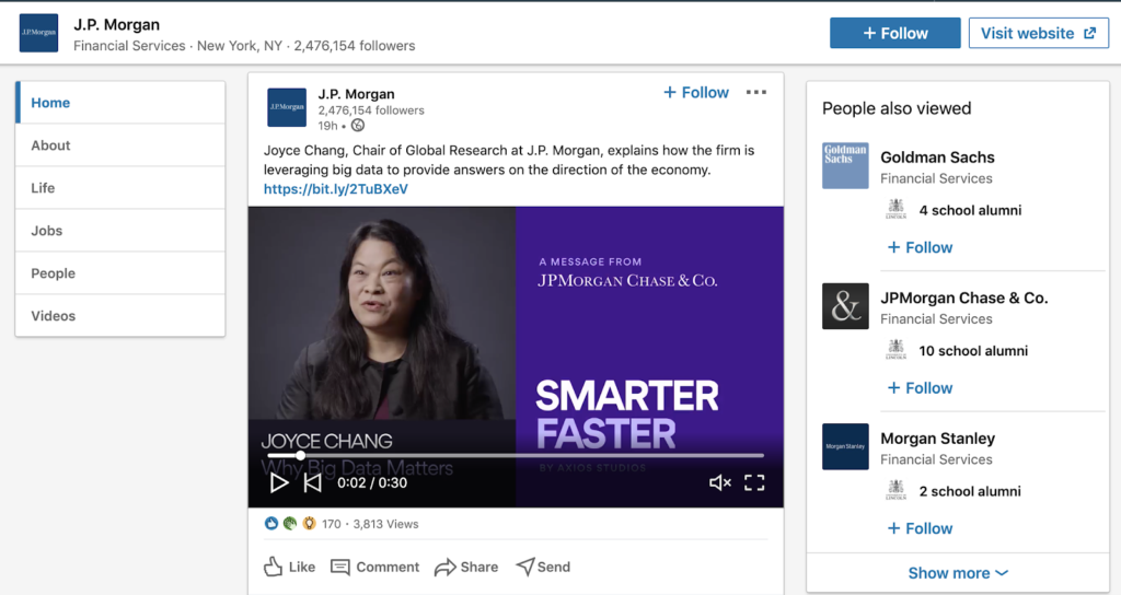 screenshot of JP Morgan's linkedin page highlighting importance of content marketing for investment banking firms